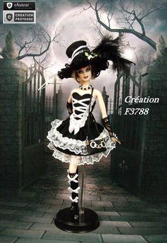 """Robe Barbie """" Gothique Lolita N°10 """" tenue pour poupée Barbie FR silkstone F3788"""