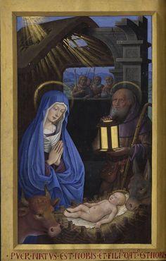 Manuscript illuminator Jean Bourdichon (1457-59-1521), 1503-08, Grandes Heures d'Anne de Bretagne, France. #Nativity