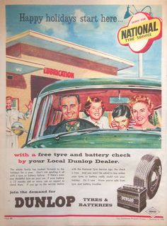 DUNLOP TYRES AD 1959 original retro vintage AUSTRALIAN automobilia advertising