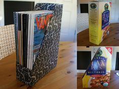 Here's an easy how-to for turning an empty cereal box into a magazine file.  http://www.apartmenttherapy.com/how-to-make-a-diy-magazine-fil-121938