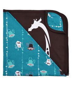 This 34'' x 36'' Blue Monkey Organic Stroller Blanket by Wee Urban is perfect! #zulilyfinds
