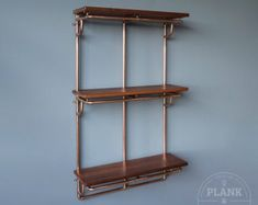 Copper Pipe Shelving unit in an Industrial / Urban / Vintage style. 3 Tier Hand Crafted Shelves with African Sapele Hardwood. Craft Shelves, Pipe Shelves, Wood Shelves, Copper Shelving, Copper And Brass, Copper Decor, Copper Art, Metal Pipe