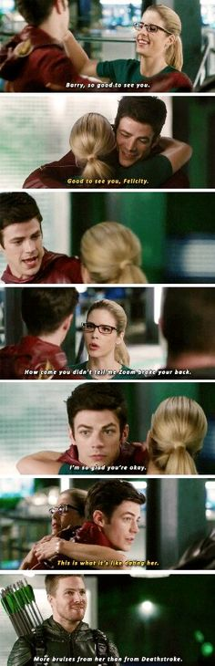 """More bruises from her than from Deathstroke"" - Oliver, Barry and Felicity The Flash Superhero Shows, Superhero Memes, Dc Memes, Funny Memes, Snow Queen, Arrow Flash, Arrow Memes, Flash Funny, Flash Barry Allen"