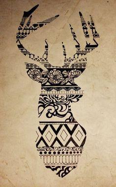 Drawing reindeer aztec
