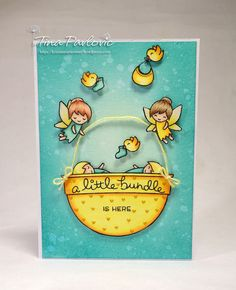 Lawn Fawn A Little Bundle is Here Card using Lawn Fawn Fairy Friends, Little Bundle and ready,Set,Snow stamps sets!