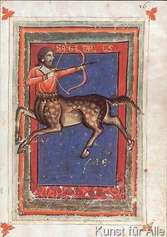 italienisch Buchmalerei - Tierkreis, Schütze / aus Zothorus