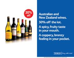 Posts about Tesco written by thepostits New Zealand Wine, Clever Advertising, Copywriting, Wines, Ads, Marketing, Blog, Print Poster, Wordpress