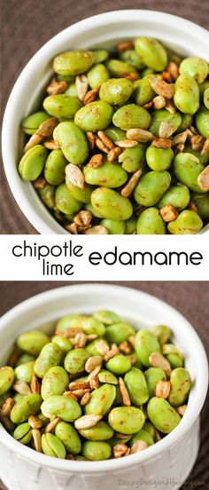 Chipotle Lime Edamame : Looking for healthier snacks? Spice up edamame using simple spices. Its a protein packed snack Flavorful and healthy side dish idea! Vegetable Snacks, Vegetable Recipes, Vegetarian Recipes, Healthy Recipes, Vegan Vegetarian, Appetizer Recipes, Snack Recipes, Cooking Recipes, Kid Recipes