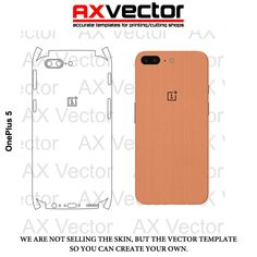 OnePlus 5 Vector Template, Accurate Contour Cut for Skins or Decals