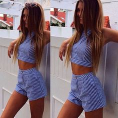Hot Sale Womens Summer Bodycon Party Strip Crop Top+Shorts Set Playsuit Jumpsuit  | eBay