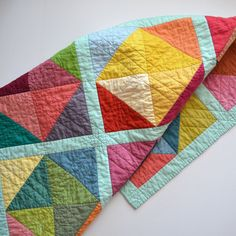 A rainbowy patchwork quilt would be so treasured. (maybe slightly toned down version of these rainbow colors though. Quilting Projects, Quilting Designs, Sewing Projects, Quilt Baby, Baby Bedding, Scrappy Quilts, Easy Quilts, Sampler Quilts, Half Square Triangle Quilts