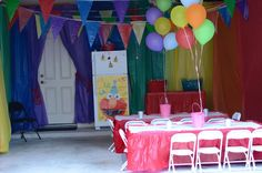 So smart - remember this for next year! Party in the garage. Cover all the junk by hanging cheap Oriental Trading table covers vertically. Garage Party Decorations, Elmo Decorations, Birthday Decorations, Carnival Birthday Parties, Circus Birthday, Art Birthday, Rainbow Birthday, Birthday Ideas, Sesame Street Party