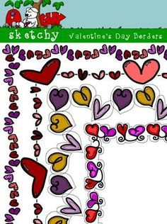 Valentines Day Borders / Frames Clipart  from Sketchy Guy on TeachersNotebook.com -  - Valentine's Day Borders / Frames Clipart  Valentines Day Borders/Frames Clip art / Graphics Included are 4 Color, 4 Gray Scale, and 4 Black and White / Blacklined Transparent  12 Items Total.