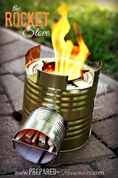 Build a Rocket Stove out of a #10 can! One of the most efficient ways to cook in an emergency! Uses only a handful of twigs! Directions at Prepared-Housewives.com #emergencyprep