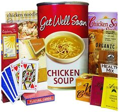 Get Well Soon Chicken Soup Gift Bag Tote, Grandma always said Chicken Soup will cure it all! Speed the way to recovery with this cleaver gift bag designed to look just like a can of soup. Your recipients will smile when they open the bag to. Gourmet Desserts, Gourmet Gifts, Food Gifts, Gourmet Recipes, Get Well Wishes, Get Well Soon Gifts, Get Well Baskets, Can Of Soup, Soup Mugs