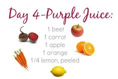 Beet Juice Recipe: 1 beet, 1 carrot, 1 apple, 1 orange, 1/4 lemon, peeled. (7 days of juice recipes)