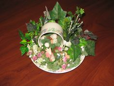 Cup and saucer fairy garden