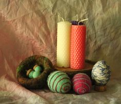 Received from Danita for the 4 Seasons Easter Exchange! Rolled beeswax candles, felted nest with wool acorns, felted eggs, and a silk transfer blown egg with stand. Beeswax Candles, Pillar Candles, Acorn, Candle Holders, Easter, Nest, Eggs, Seasons, Silk