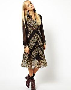 Image 1 ofASOS Midi Dress With Diagonal Patchwork Print