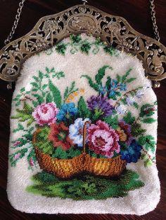 Vintage Purses, Vintage Bags, Vintage Handbags, Beaded Purses, Beaded Bags, Shabby, Silver Purses, Embroidered Roses, Vintage Perfume Bottles