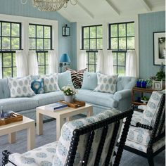 39 Beautiful Romantic Living Room Decor Ideas - Living-room is the most important and most spacious room at home, it welcomes guests, it reflects our way of life, so it should be exclusively maintai. Cottage Living Rooms, Coastal Living Rooms, Living Room Interior, Living Room Furniture, Living Room Decor, Wooden Furniture, Living Area, Dining Room, Salons Cottage