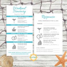 Simple and Modern Wedding Itinerary Card with RSVP by EllePapel