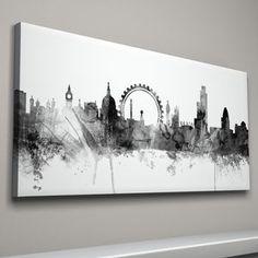 London Skyline Cityscape Black And White - living room