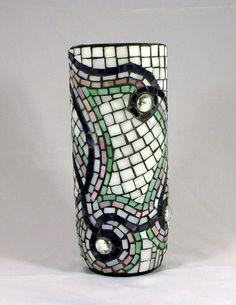 Mosaic swirled vase.