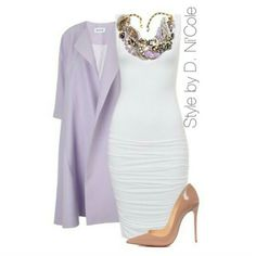 I have the perfect lilac suede wedges that would go amazing with this oufit,  I actually wore them with a little white dress for a friends birthday... I don't know if D. Ni'Cole read my mind when she created this outfit but white and lilac are one of my fav colour combos EVER!!!