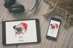 Merry Pugmas , Christmas Phone desktop iPhone and iPad