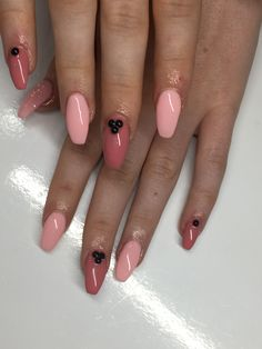 #pinknails spring nails #blackandpink