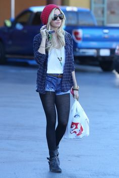 Ashley Tisdale - Shorts and tights with button down and beanie