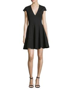 Cap-Sleeve V-Neck Fit-&-Flare Dress, Black