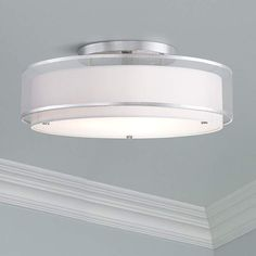 Modern Ceiling Light Flush Mount Fixture Sheer Organza Off White Double Drum Wide for Bedroom Kitchen Living Room Hallway Bathroom - Possini Euro Design Drum Ceiling Lights, Ceiling Light Fixtures, Modern Ceiling, White Ceiling, Led Bathroom Lights, Glass Diffuser, Lamp Design, Lamps, Euro