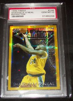 1996 Topps Finest Gold Refractor Shaquille O'Neal PSA 10 Gem Mint ~Tough To Find #LosAngelesLakers