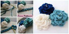 Crochet Crocodile Stitch Flower – Free Pattern #freecrochetpatterns #crochetflower #roseflower