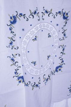 Cotton blue cross stitch embroidery with Crochet Lace tablecloths