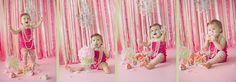 backdrop for first birthday smash | pink smash cake, ribbon backdrop, girl first birthday cake smash