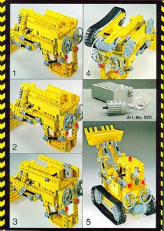 LEGO 856 Bulldozer instructions displayed page by page to help you build this amazing LEGO Technic set Lego Bulldozer, Lego Technic Sets, Vintage Lego, Lego Instructions, Lego Sets, 4th Birthday, Legos, 4x4, Retro