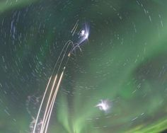 The magic of an aurora borealis. The interaction of the solar winds and atmosphere of the Earth produce what we know as aurora borealis. What we see in the picture is the result of the Mesosphere-Lower Thermosphere Turbulence Experiment or M-tex and the Mesospheric Inversion-layer Stratified Turbulence or MIST, both launched on four NASA sounding rockets in order to explore the response of the atmosphere Of the Earth before an aurora and all the effects associated with it.