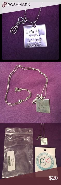 """🆕Stainless Steel Necklace New, still in original package. Plastic bag is a bit roughed up from corners of pendant. 1"""" square pendant, stainless steel with beater pendant. 18"""" chain with 3.5"""" extensor; not sure what the chain is made of, but seems to have darkened a little around the clasp. Not very noticeable. Cute and funny! Pebbles Jones Jewelry Necklaces"""