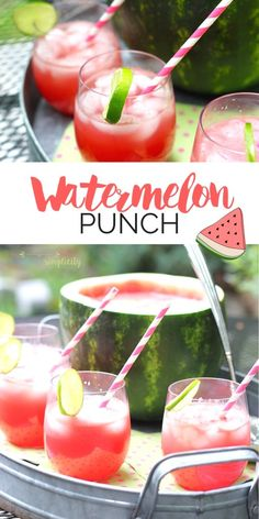 This Watermelon Punch recipe is a refreshing and delicious addition summer BBQs and parties!  Nothing goes to waste because you turn the watermelon into a rustic serving bowl!