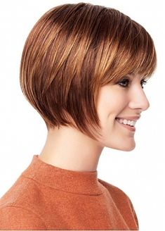 Pretty Short Straight Bob Style Hand Tied Full Lace 100% Human Hair Fashion Wig With Bangs by Dressilyme.com