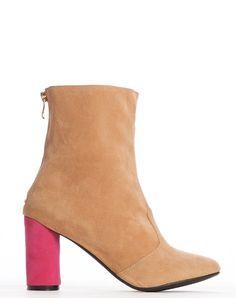 Ana Round Heel Bootie - Beige - was $160 – Cri de Coeur