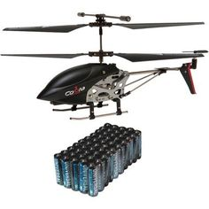Cobra RC Toys 908720 3.5-Channel Mini Gyro Special Edition Helicopter and Super Heavy-Duty Battery Value Box, Black