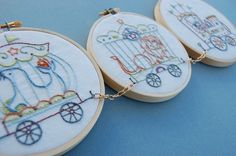 Embroidery Patterns, IL CIRCO Hand Embroidery Patterns Circus Train Design. $6.00, via Etsy.