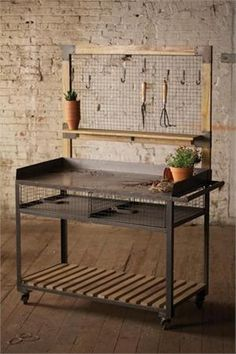 Industrial Furniture Industrial Metal and Wood Potting Station, Hooks Included