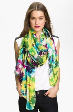 Tasha 'Painted Floral' Scarf | Nordstrom- love bright colors for fall!