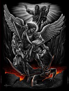 Archangel Saint Michael Slaying the Devil Christian Jesus Canvas Art DGA St. Michael Tattoo, Archangel Michael Tattoo, Archangel Gabriel, Tattoo Sleeve Designs, Sleeve Tattoos, Future Tattoos, Tattoos For Guys, Body Art Tattoos, Cool Tattoos