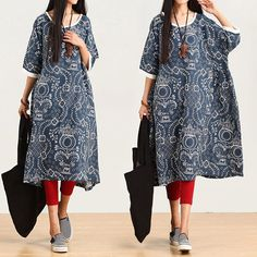 Printed cotton short-sleeved dress -Buykud